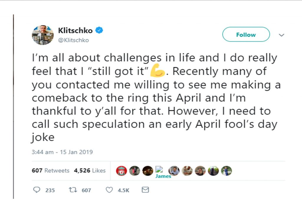Wladimir Klitschko, comeback