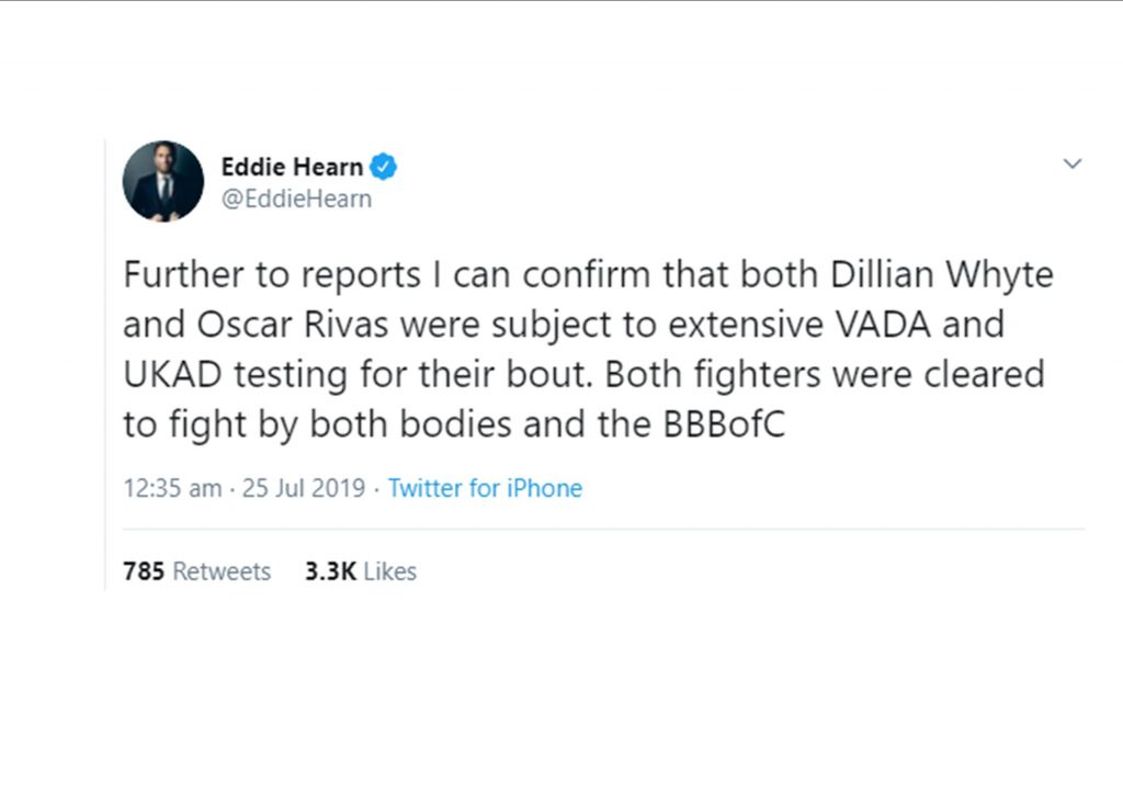 eddie hearn statement Dillian Whtye